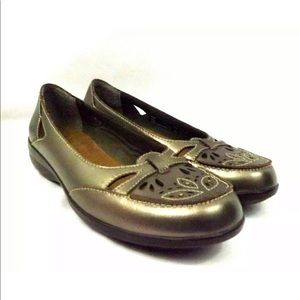 Clarks Bendables Flats Heidi Bronze Leather 5.5M